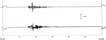 Seismogramm des Wiechert-Seismographen in Göttingen: N-S und E-W Komponenten der Explosion vom 21.12.1992